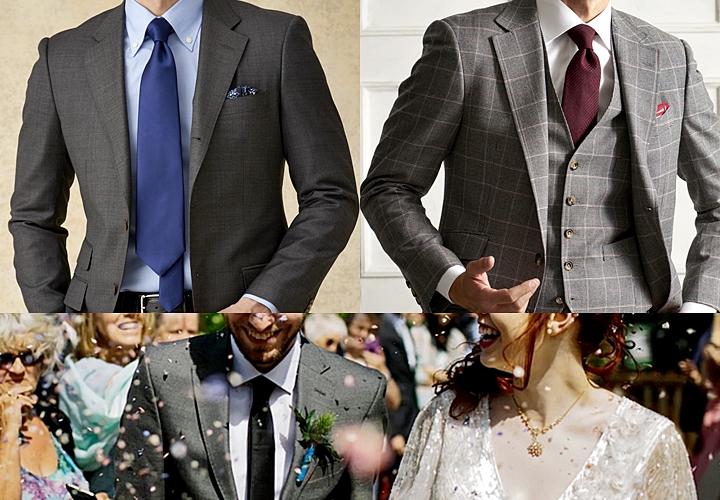 グレースーツ,無地,チェック柄,結婚式スーツ