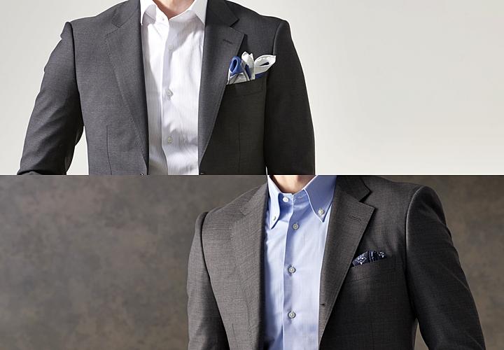グレースーツ,定番のシャツ,白シャツ,サックスブルー
