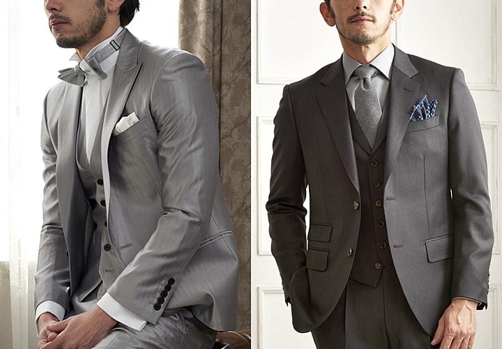 グレースーツ,結婚式でのグレースーツ,艶感