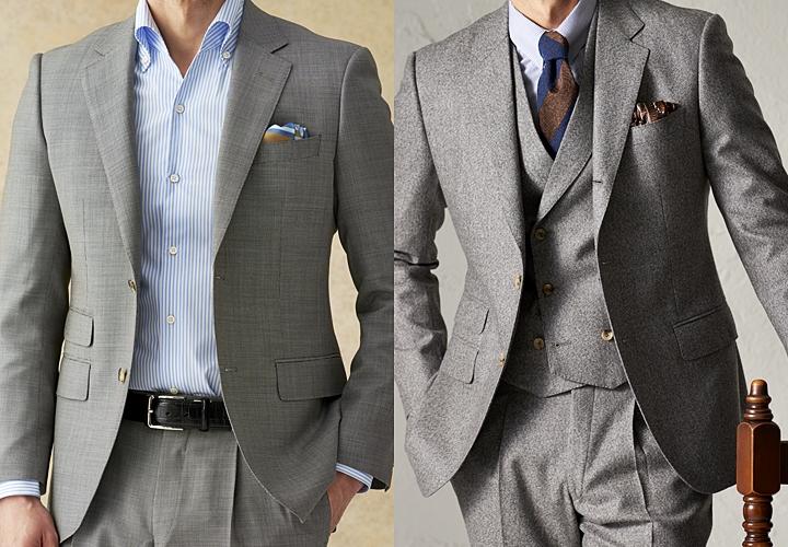 グレースーツ,生地の光沢感・ボリューム感のあるスーツ