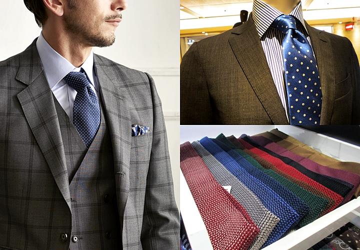 グレースーツ,色柄ネクタイ,ドット柄,ニットタイ