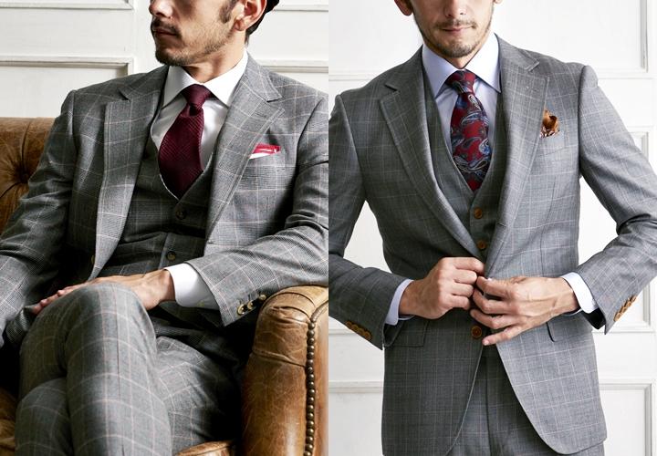 グレースーツ,赤ネクタイ,チェック柄のグレースーツ
