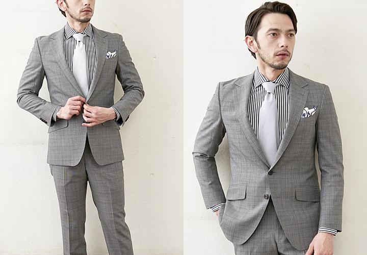 シャドーチェックのスーツ