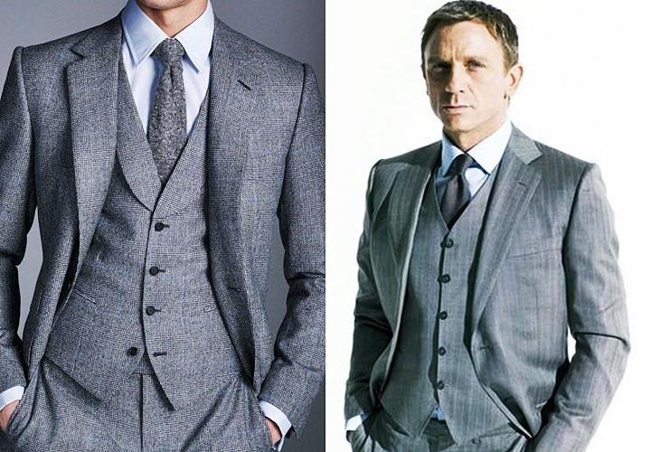 グレースーツ×白シャツ×グレーのソリッドタイとダニエル・クレイグのスーツ