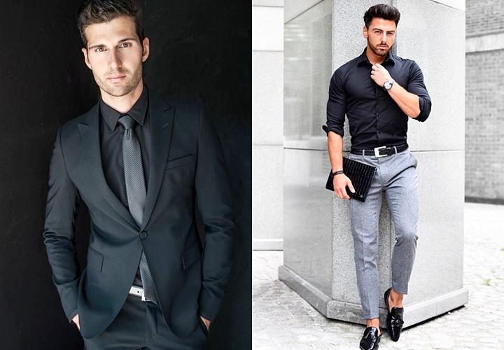 黒シャツ×グレーネクタイorパンツ