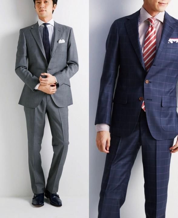グレースーツとチェック柄スーツ