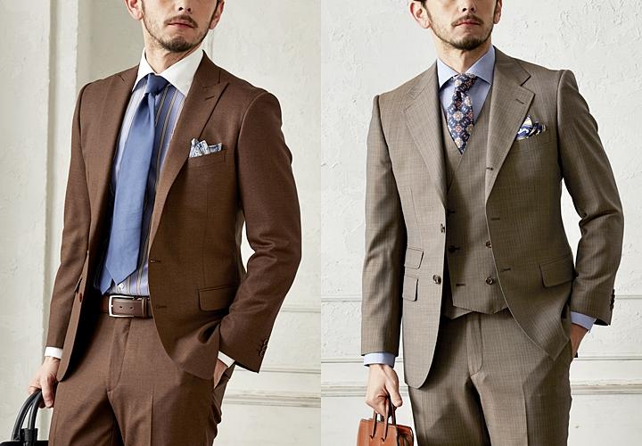ブラウンスーツ,シングル,スリーピーススーツ