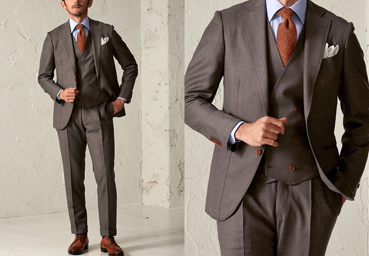 ブラウンスーツ,ビジネスシーンでの着こなし方,スリーピーススーツ