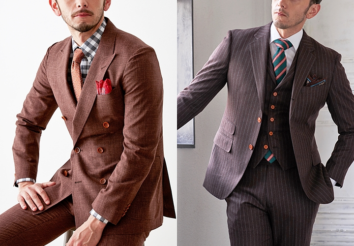 ブラウンスーツ,季節感のある着こなし方,ダブルスーツ,フランネル