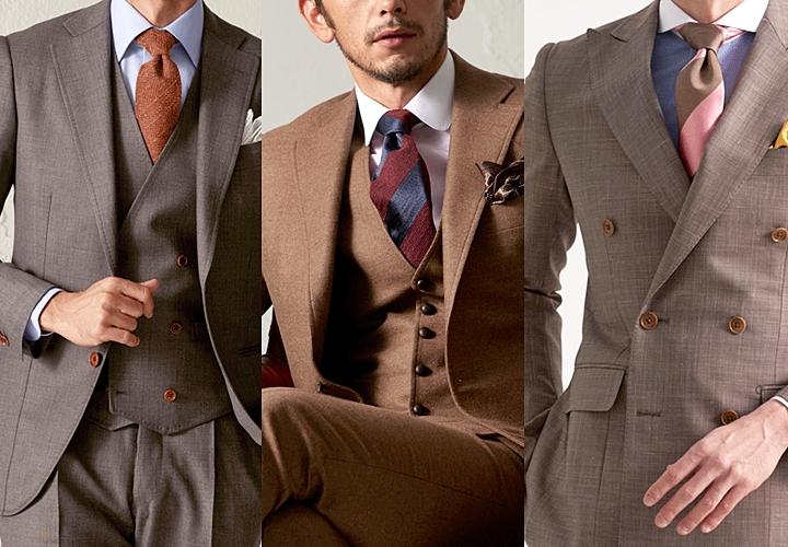 ブラウンスーツ,ボルドー系のネクタイ