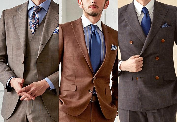 ブラウンスーツ,ブルー系のネクタイ