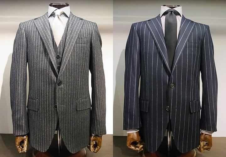 ネイビーカラーのフランネルスーツ
