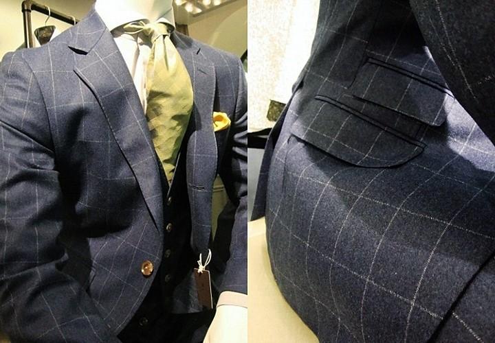 ブルーオーバーチェックのフランネルスーツ