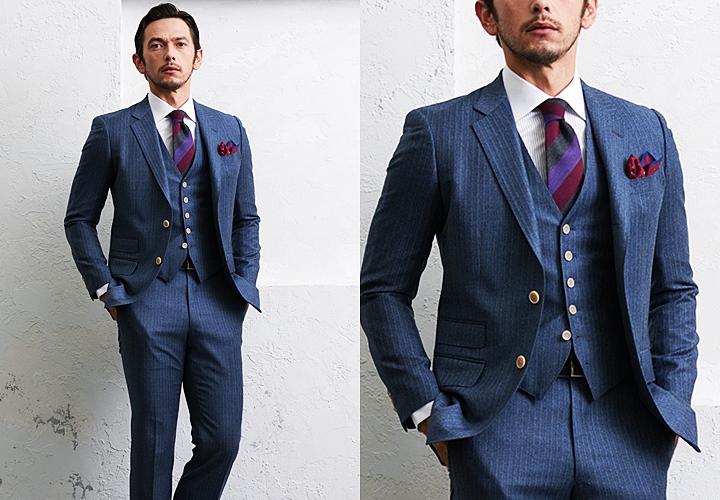スタイリィッシュなストライプ柄のフランネルスーツ