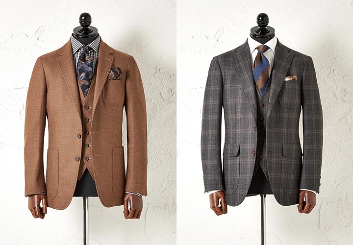 キャメルとチェック柄のフランネルスーツ