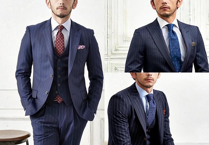 ネイビースーツ,ストライプ柄,小紋柄のネクタイ