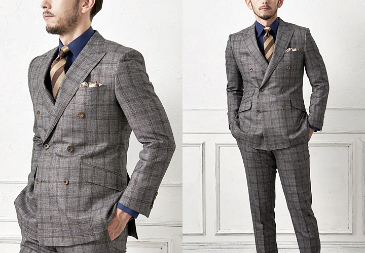 ダブルスーツ,グレンチェック柄のブラウンコーディネート