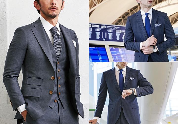 無地柄のグレーとストライプ柄のネイビーのビジネススーツ