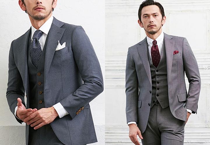 ビジネススーツ,無地のグレースーツスタイル