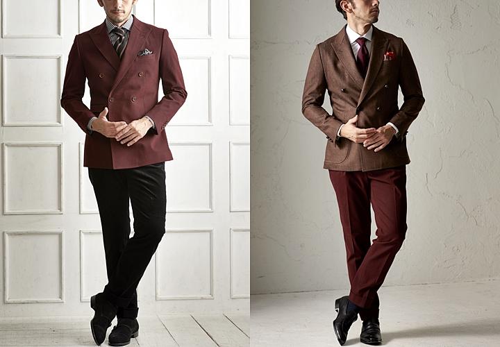 ダブルスーツ,ボルドやブラウンのジャケットスタイル