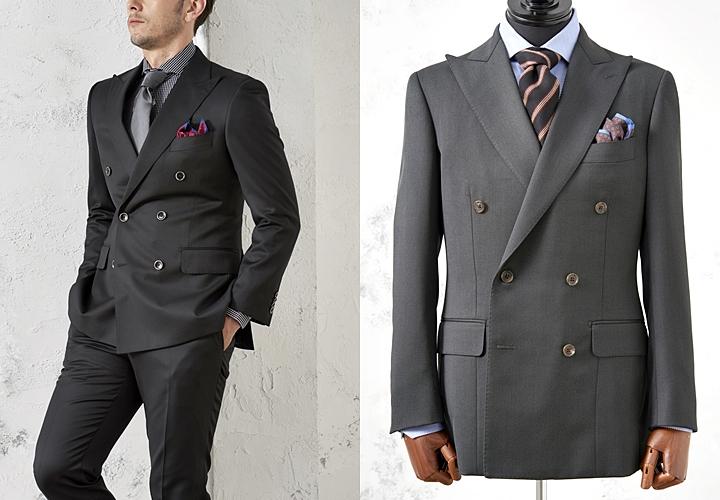 ダブルスーツ,スリムさのあるシルエット,ブラック