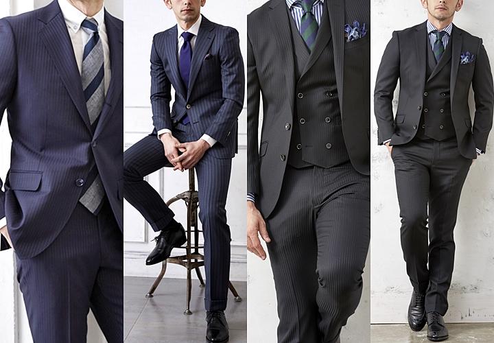 ビジネススーツ,シャドーネイビーストライプスーツ,シャドーブラックストライプスーツ