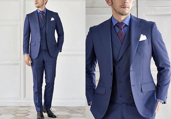 ビジネススーツ,ネイビーのスリーピーススーツ