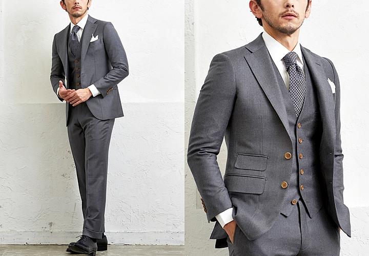 ビジネススーツ,グレーのスリーピーススーツ