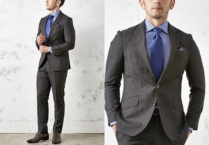ビジネススーツ,ブラウンのシャドーストライプスーツ