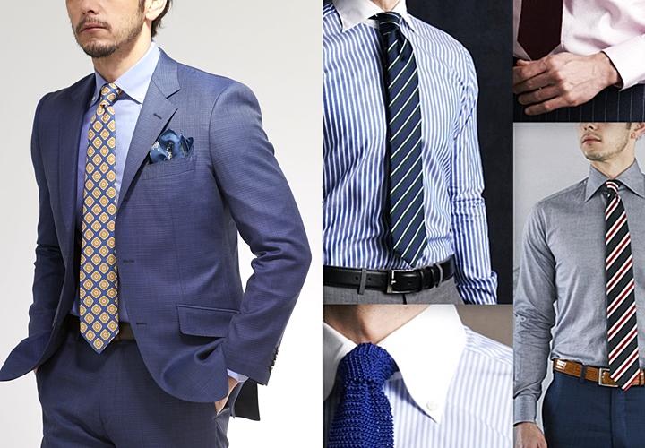 ビジネスシャツ,ネイビースーツ×ブルーシャツ,シャツの襟型