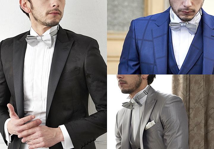 ウィングカラーシャツ,ブラック&ブルー&グレースーツスタイル