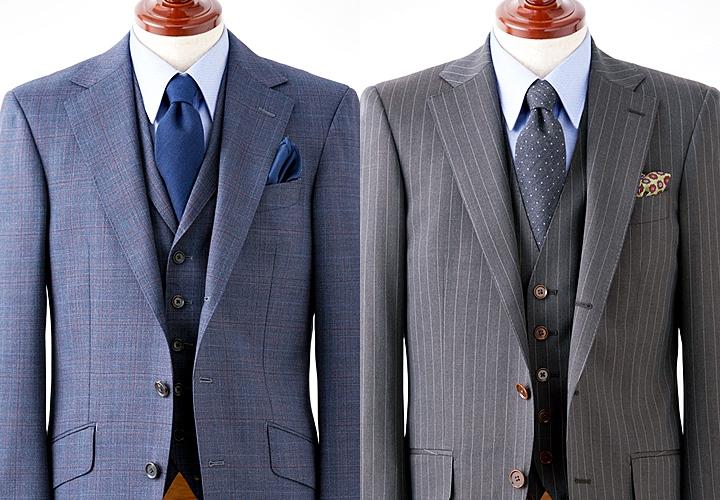 レギュラーカラーシャツと合わせたスーツスタイル