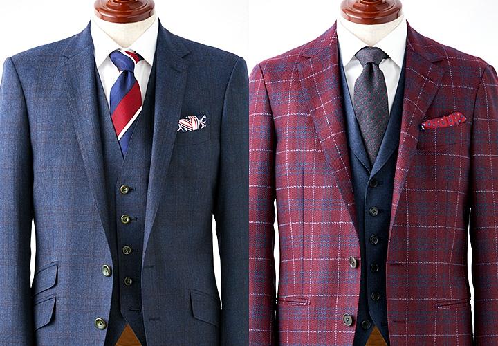 ワイドカラーデザインのシャツと合わせたスーツ・ジャケットスタイル