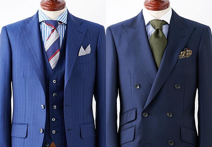 ホリゾンタルカラーデザインの(クレリック)シャツと合わせたスリーピース・ダブルスーツスタイル