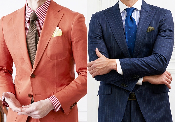 左:ラウンドカラーシャツ・右:クレリックシャツ