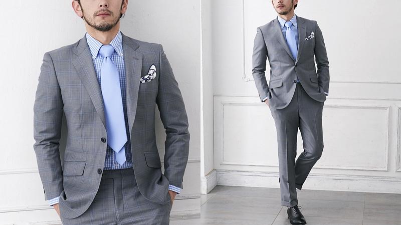 夏用のチェック柄のスーツ