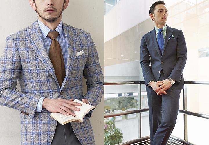 ボタンダウンシャツ×色柄のネクタイのジャケット・スーツスタイル