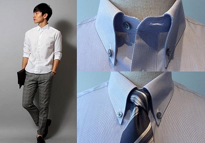 ボタンダウンシャツ・ノーネクタイで着る時は、第1ボタンを外す