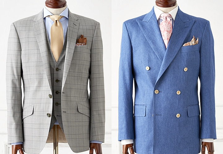グレーとネイビーのスーツ