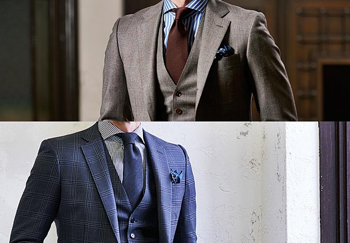 カジュアル チェック柄のブラウン・ネイビースーツ