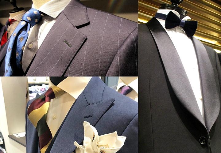 スーツ襟の種類①ノッチドラペル→②ピークドラペル→③ショールカラー