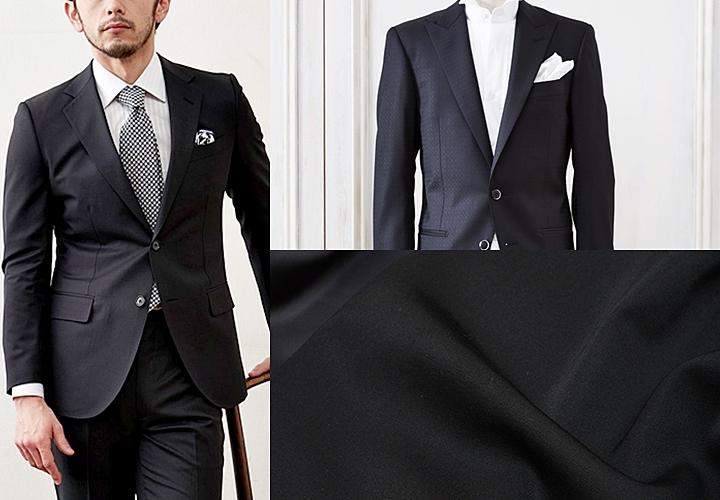 (写真:左)ビジネススーツ(写真:右)タキシードクロスの生地