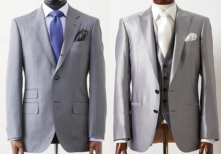 (写真:左)グレーのビジネススーツ(写真:右)グレーのフォーマルスーツ