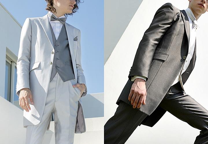 結婚式のスーツ:華やかなグレー