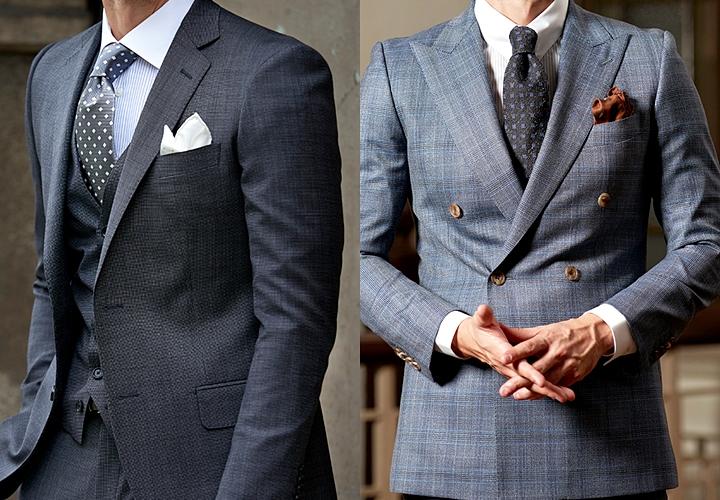 グレースーツとネクタイとの合わせ方・シングル、ダブルスーツ