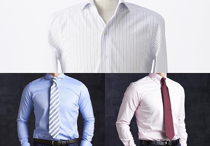ワイシャツのカラー:白・青・ピンク