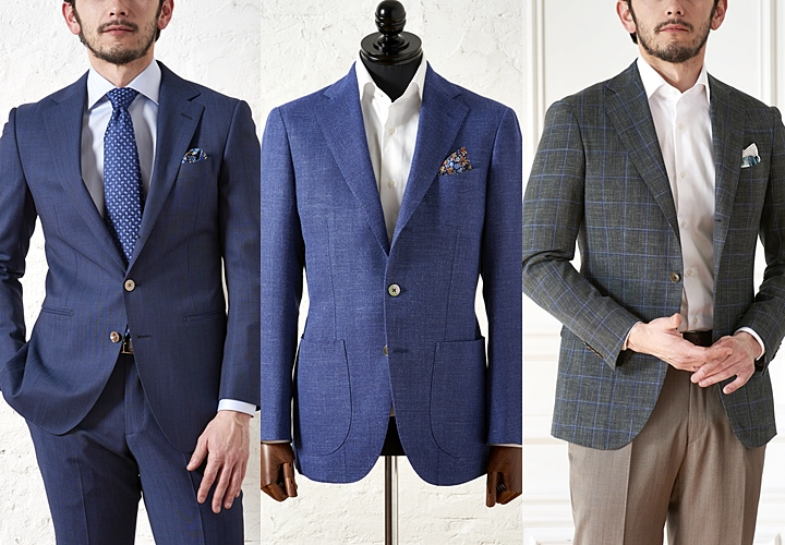 (左)一般的なジャケット(中央・右)アンコンジャケット