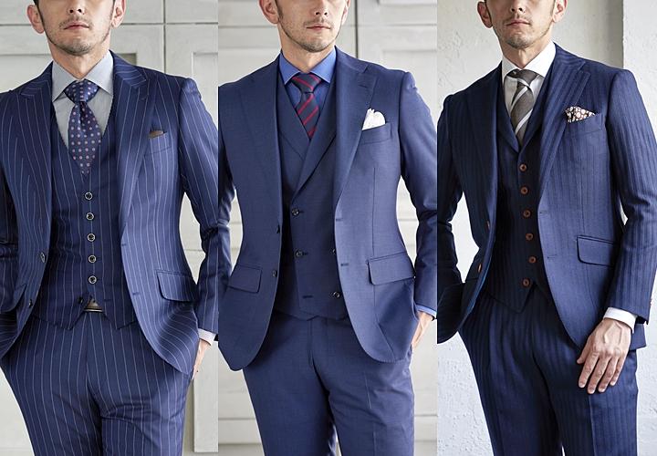 スーツ×ベスト,ネイビーカラーのスーツ,ビジネス