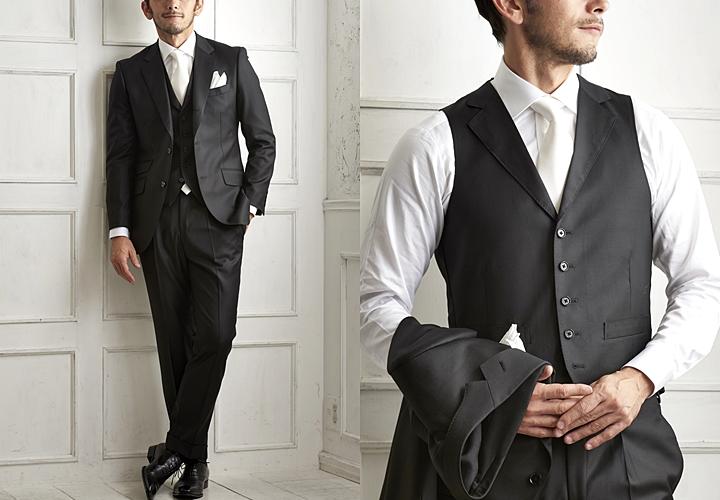 スーツ×ベスト,結婚式,ブラックスーツ
