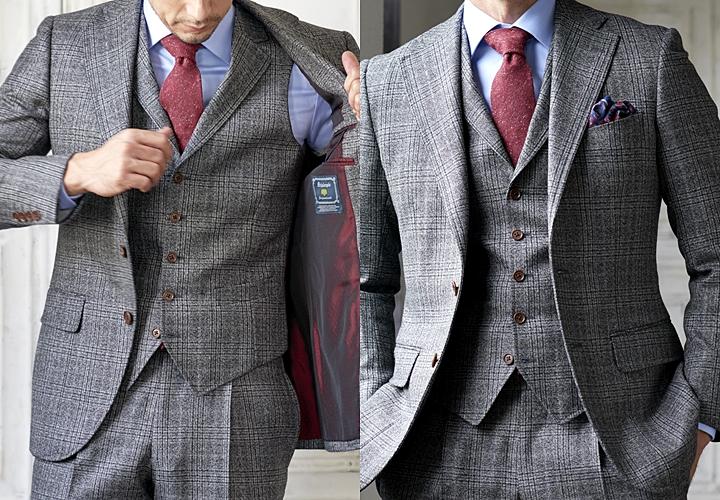スーツ×ベスト,視覚効果,グレー,グレンチェック